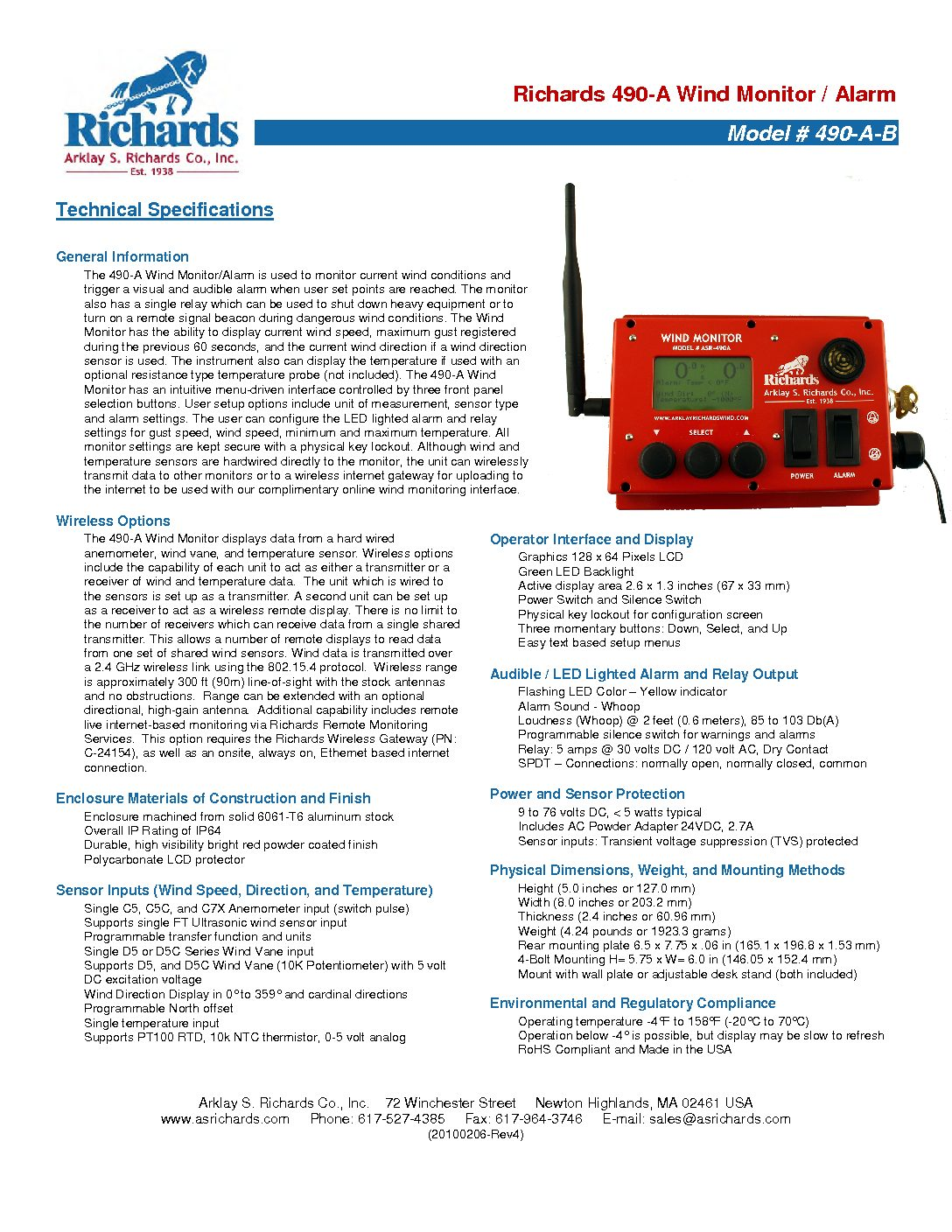 490_A_B Wind Monitor Specifications